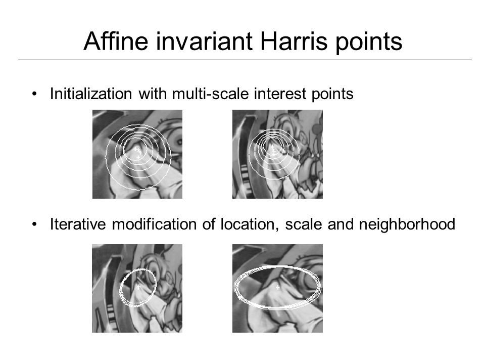 Initialization with multi-scale interest points Iterative modification of location, scale and neighborhood