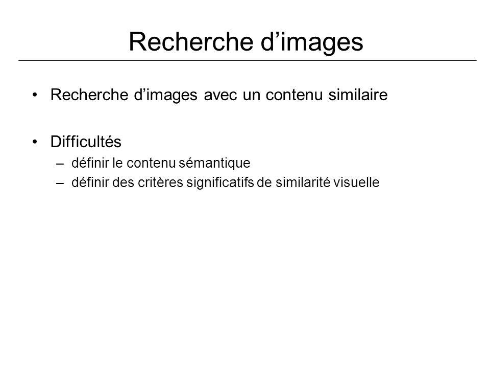 Recherche dimages Recherche dimages avec un contenu similaire Difficultés –définir le contenu sémantique –définir des critères significatifs de simila