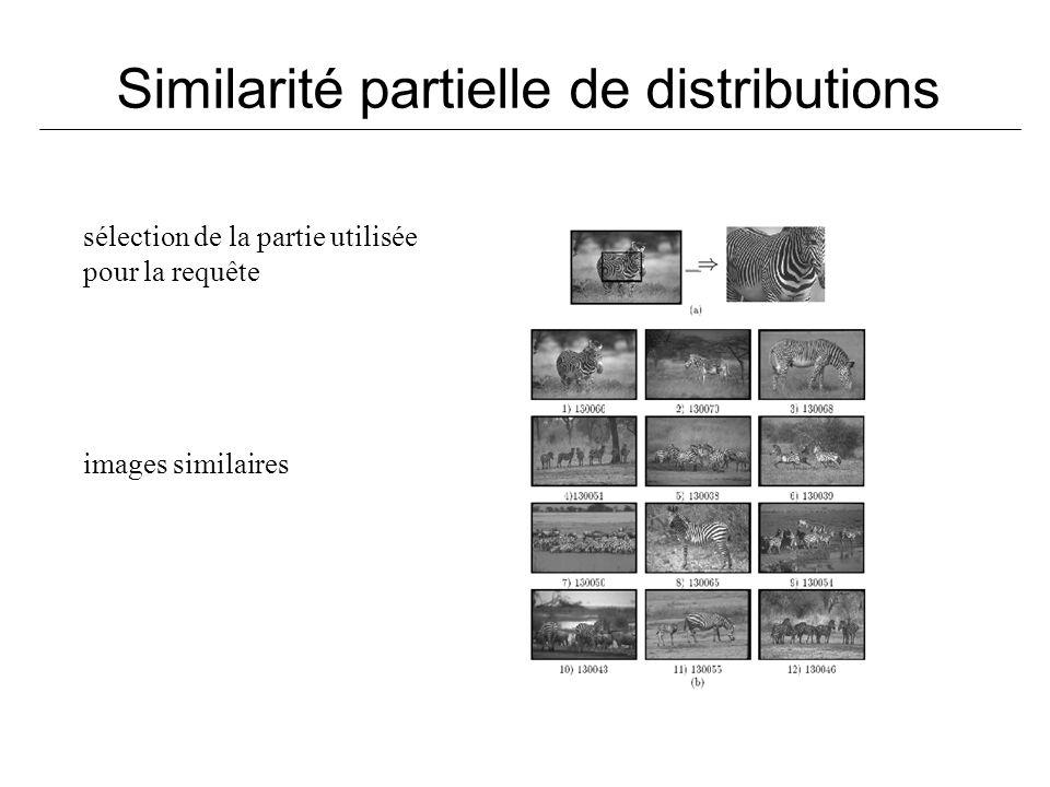 Similarité partielle de distributions sélection de la partie utilisée pour la requête images similaires