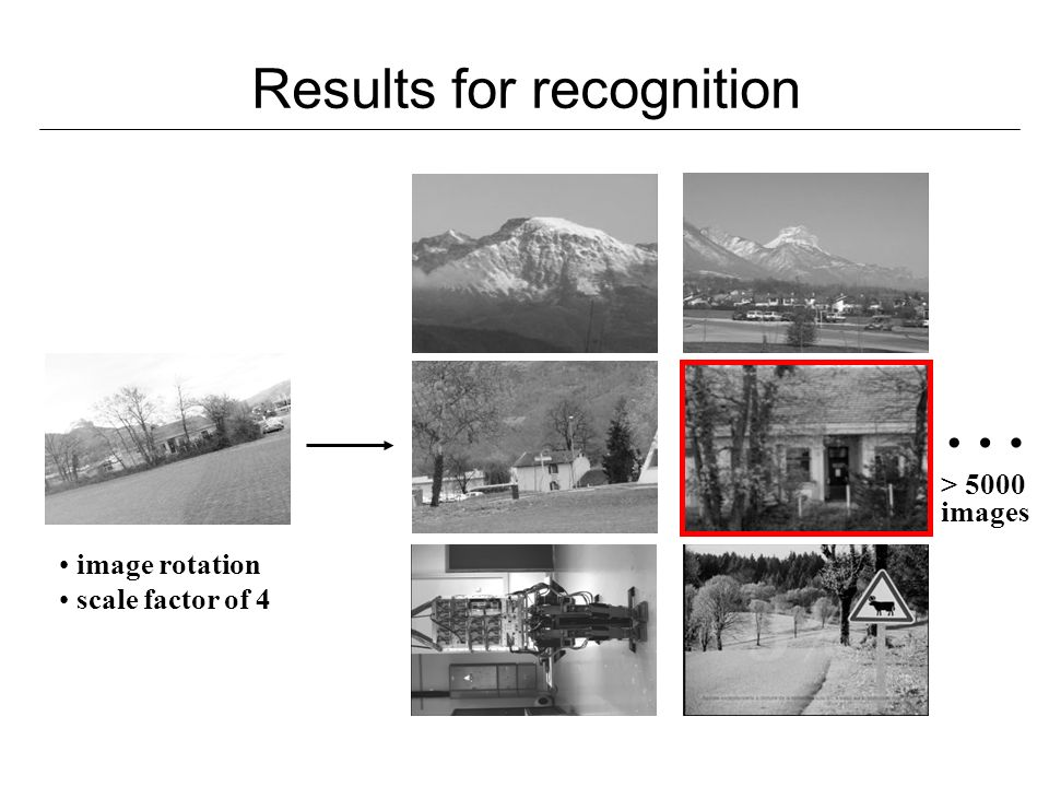 Results for recognition … > 5000 images image rotation scale factor of 4