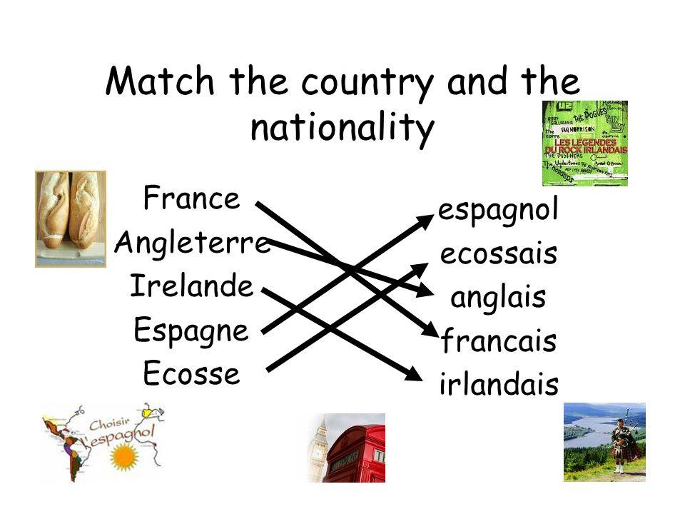 Je suis français anglais écossais irlandais espagnol française anglaise écossaise irlandaise espagnole garçon fille