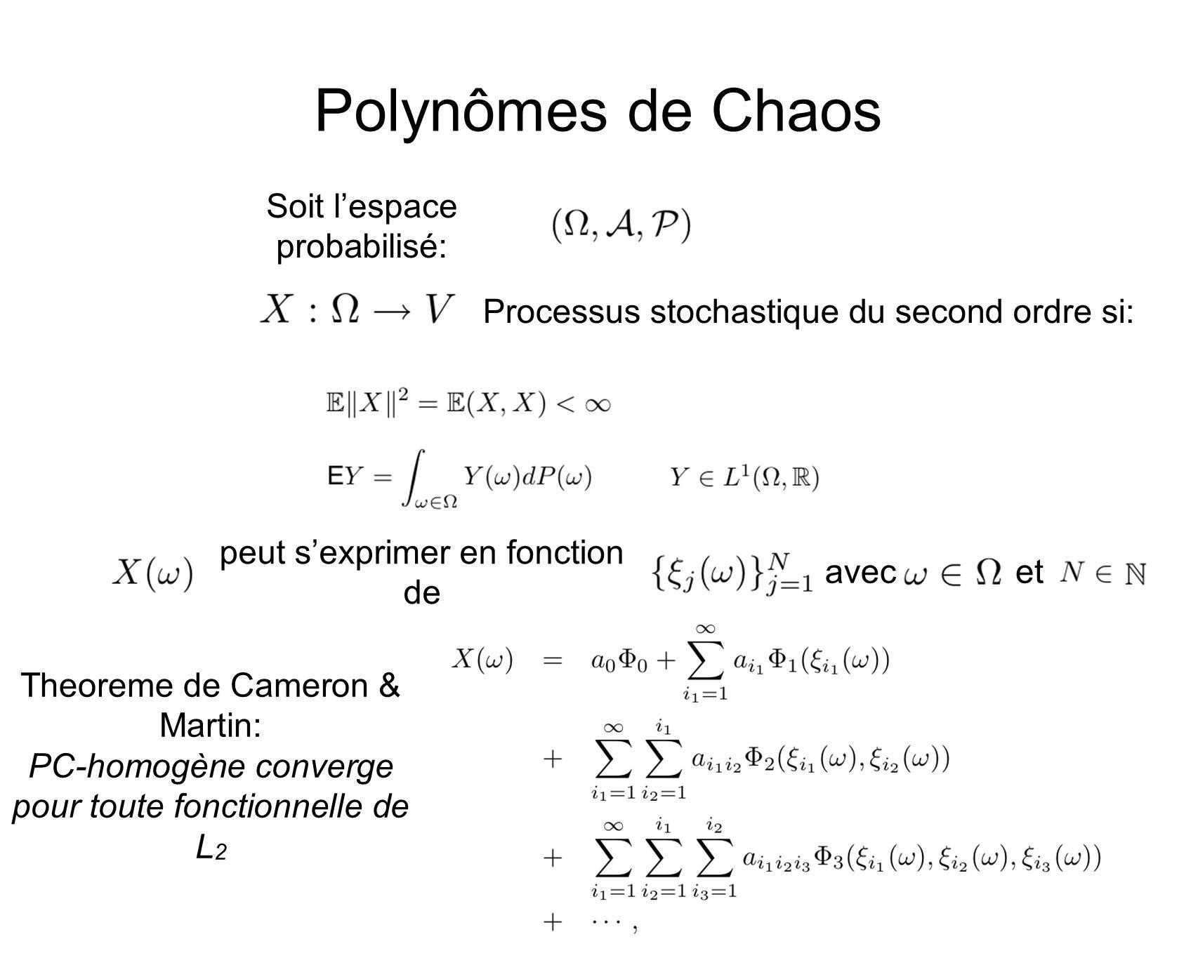 Polynômes de Chaos Processus stochastique du second ordre si: avecet Soit lespace probabilisé: peut sexprimer en fonction de Theoreme de Cameron & Martin: PC-homogène converge pour toute fonctionnelle de L 2