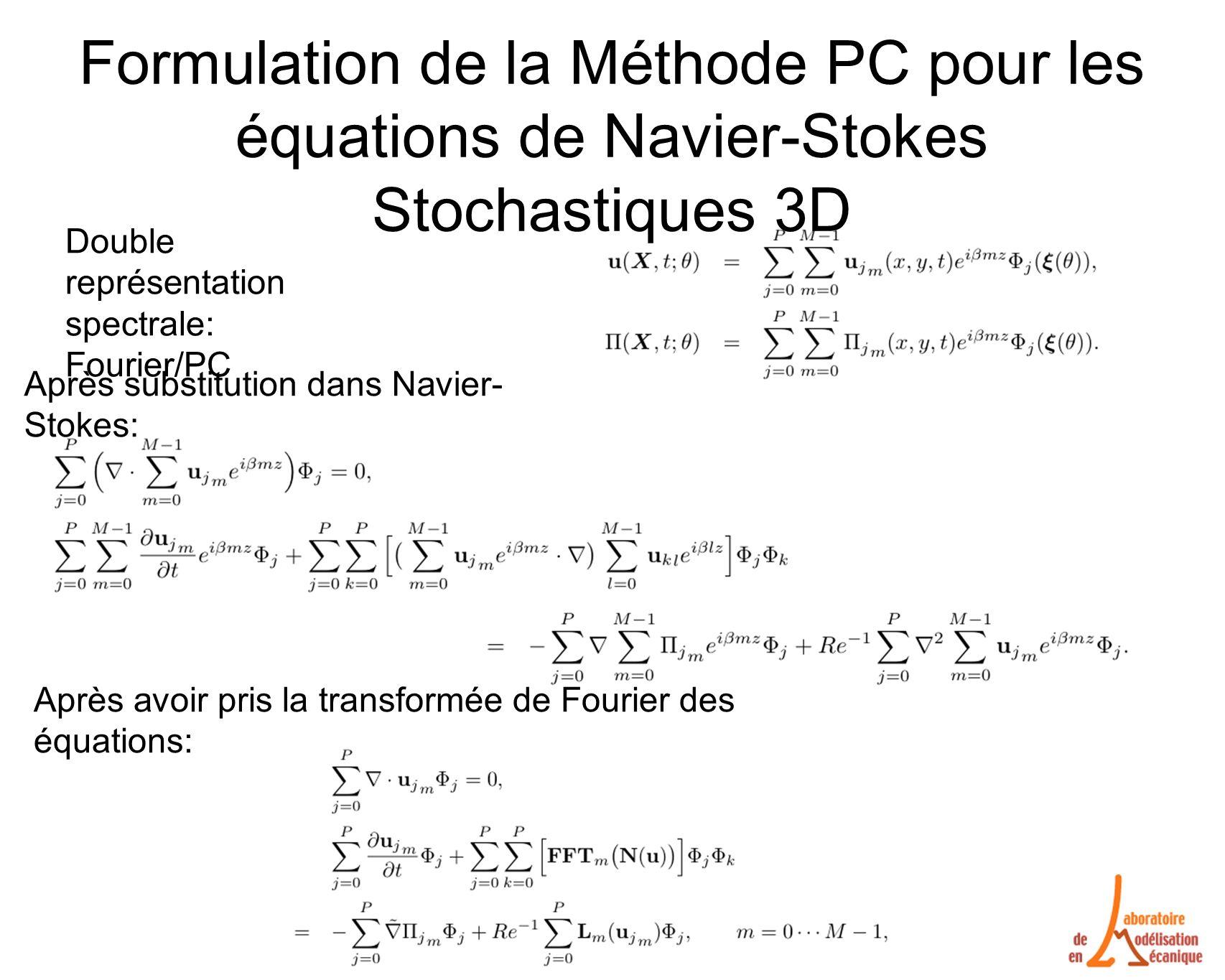 Formulation de la Méthode PC pour les équations de Navier-Stokes Stochastiques 3D Après substitution dans Navier- Stokes: Après avoir pris la transformée de Fourier des équations: Double représentation spectrale: Fourier/PC