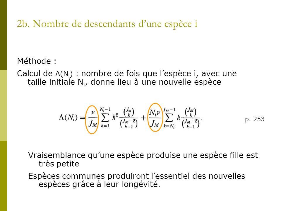 2b. Nombre de descendants dune espèce i Méthode : Calcul de Λ(N i ) : nombre de fois que lespèce i, avec une taille initiale N i, donne lieu à une nou