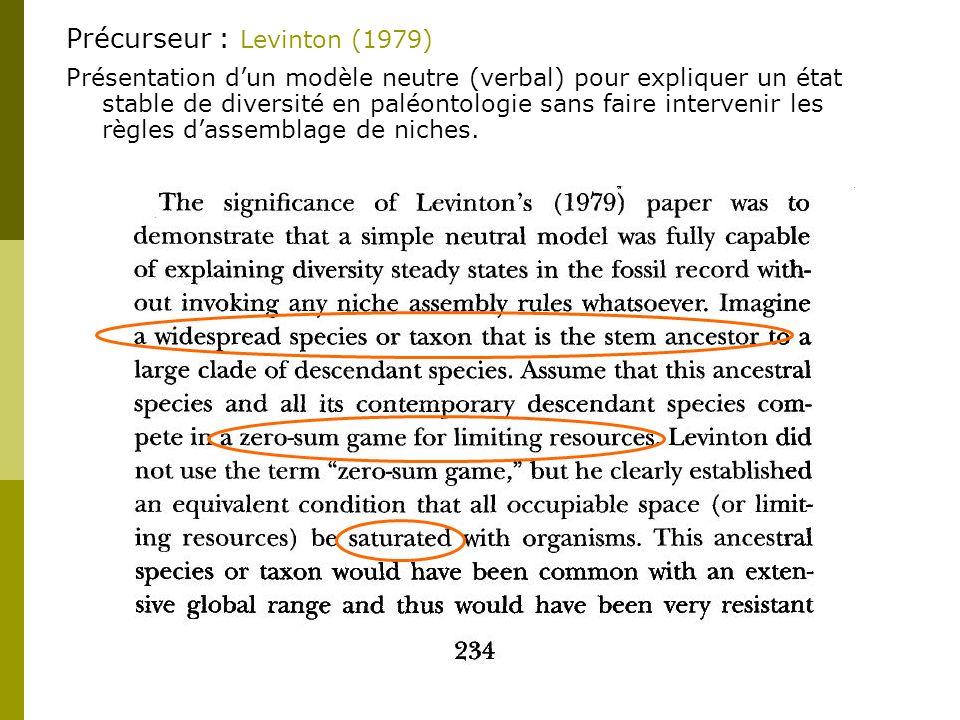 Précurseur : Levinton (1979) Présentation dun modèle neutre (verbal) pour expliquer un état stable de diversité en paléontologie sans faire intervenir les règles dassemblage de niches.