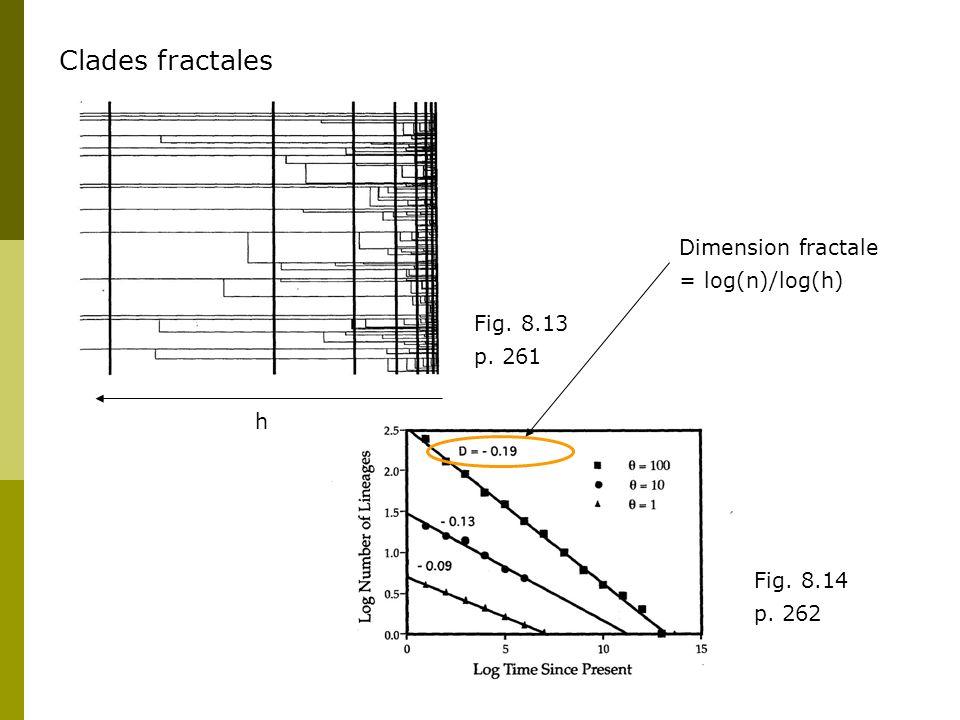 Fig. 8.13 p. 261 Clades fractales h Fig. 8.14 p. 262 Dimension fractale = log(n)/log(h)