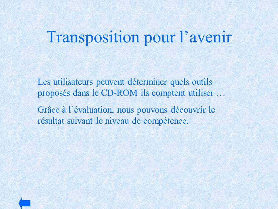 Transposition pour lavenir Les utilisateurs peuvent déterminer quels outils proposés dans le CD-ROM ils comptent utiliser … Grâce à lévaluation, nous
