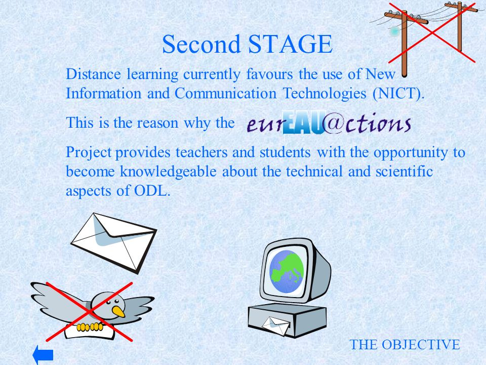 Distance learning currently favours the use of New Information and Communication Technologies (NICT). This is the reason why the Project provides teac