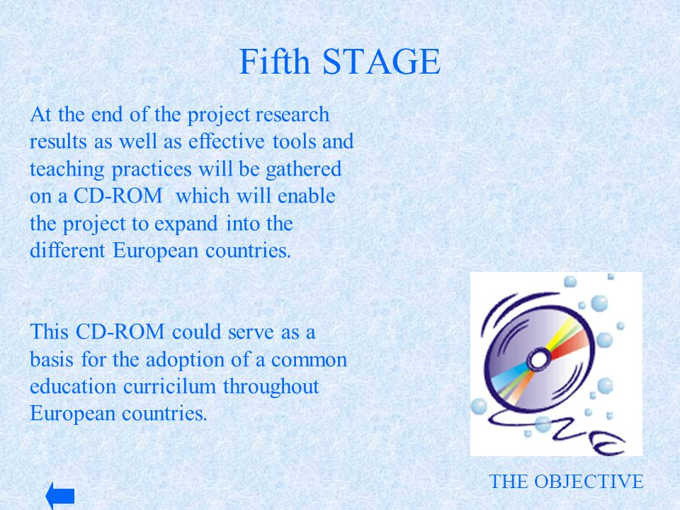 At the end of the project research results as well as effective tools and teaching practices will be gathered on a CD-ROM which will enable the projec