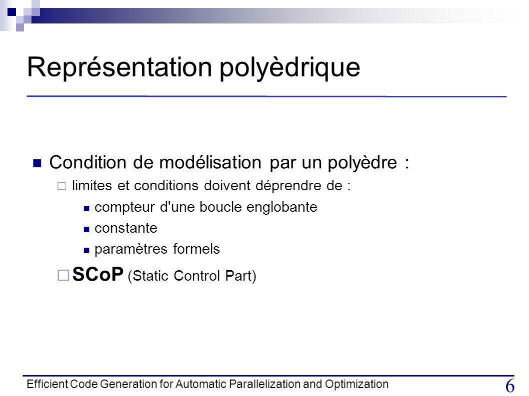 Efficient Code Generation for Automatic Parallelization and Optimization 6 Représentation polyèdrique Condition de modélisation par un polyèdre : limites et conditions doivent déprendre de : compteur d une boucle englobante constante paramètres formels SCoP (Static Control Part)