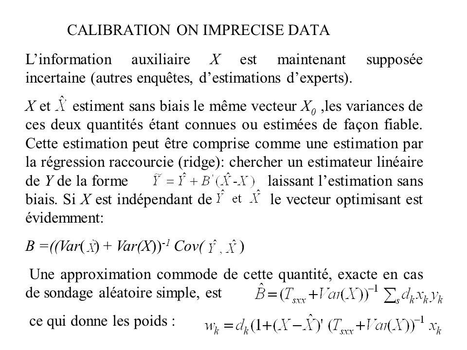 CALIBRATION ON IMPRECISE DATA Linformation auxiliaire X est maintenant supposée incertaine (autres enquêtes, destimations dexperts). X et estiment san