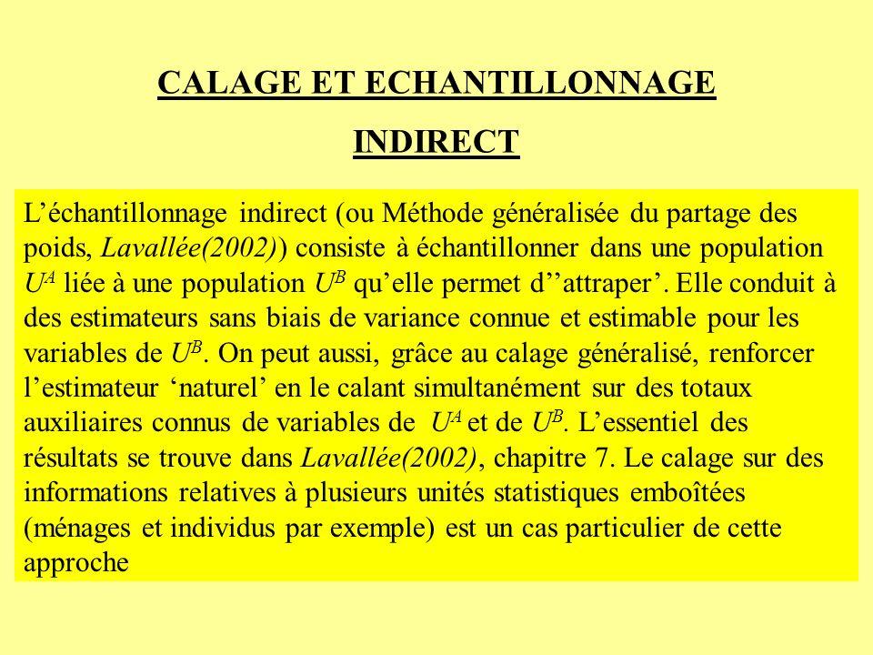 CALAGE ET ECHANTILLONNAGE INDIRECT Léchantillonnage indirect (ou Méthode généralisée du partage des poids, Lavallée(2002)) consiste à échantillonner d