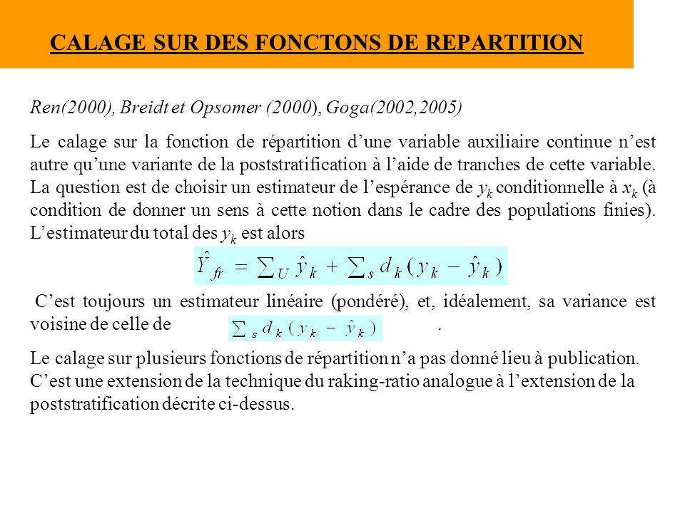 CALAGE SUR DES FONCTONS DE REPARTITION Ren(2000), Breidt et Opsomer (2000), Goga(2002,2005) Le calage sur la fonction de répartition dune variable aux