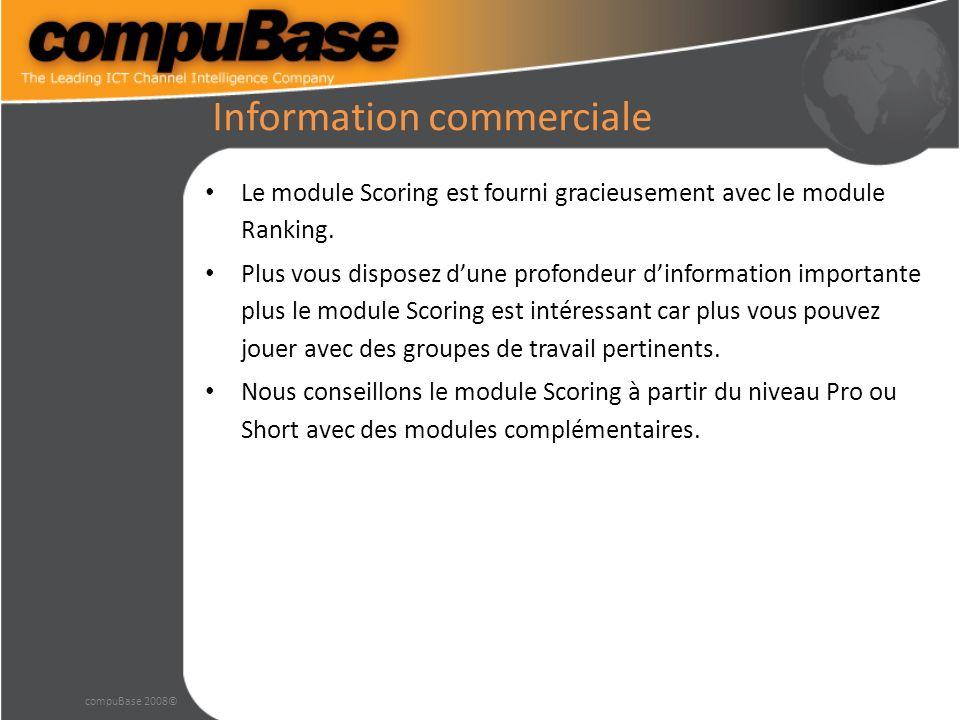 Information commerciale Le module Scoring est fourni gracieusement avec le module Ranking.