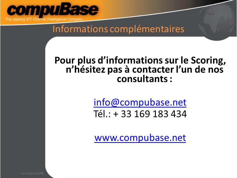 Informations complémentaires Pour plus dinformations sur le Scoring, nhésitez pas à contacter lun de nos consultants : info@compubase.net Tél.: + 33 169 183 434 www.compubase.net