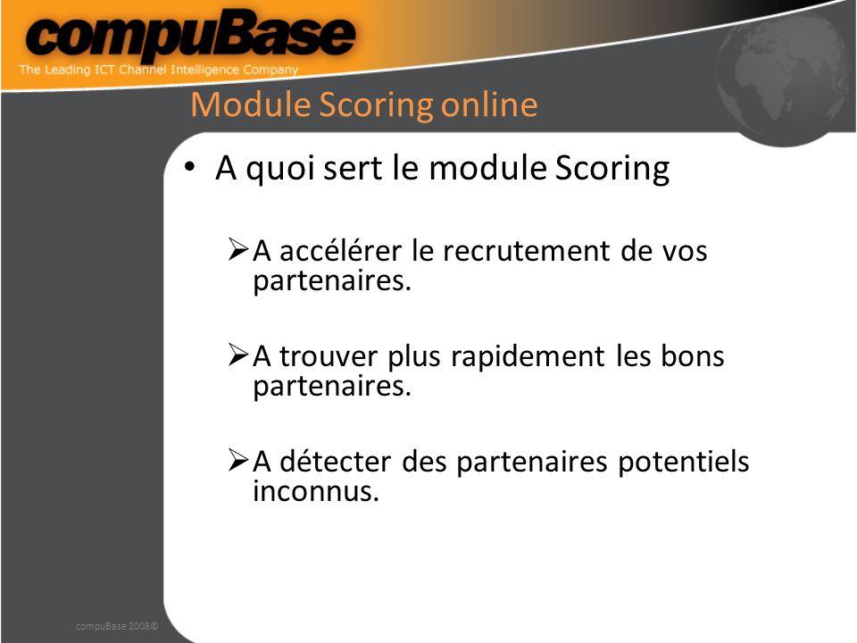 Module Scoring online A quoi sert le module Scoring A accélérer le recrutement de vos partenaires.