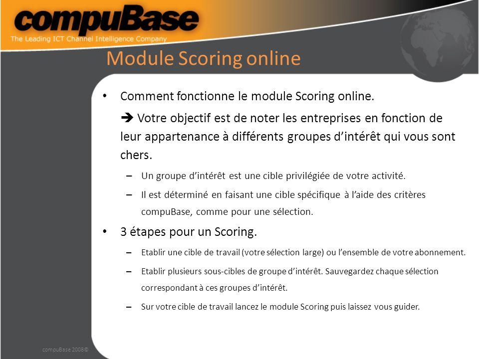 Module Scoring online Comment fonctionne le module Scoring online.