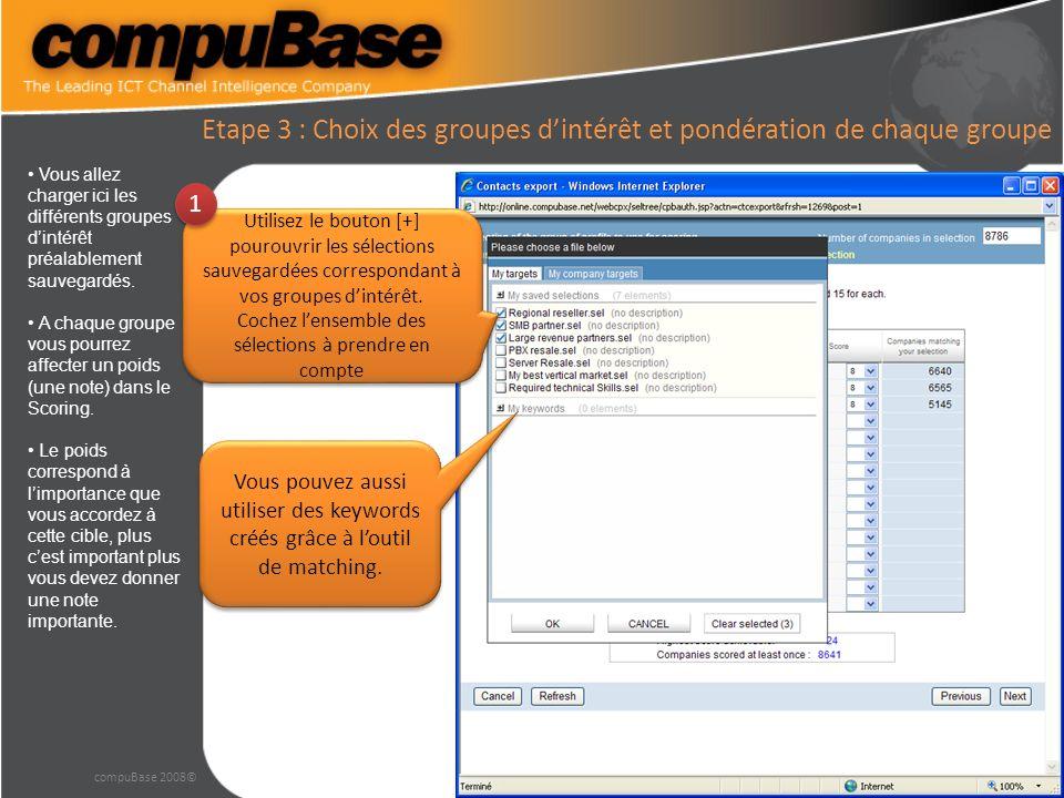 Etape 3 : Choix des groupes dintérêt et pondération de chaque groupe compuBase 2008© Vous allez charger ici les différents groupes dintérêt préalablement sauvegardés.
