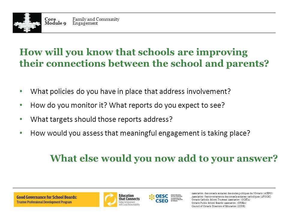 Core Module 9 Family and Community Engagement Association des conseils scolaires des écoles publiques de lOntario (ACÉPO) Association franco-ontarienn