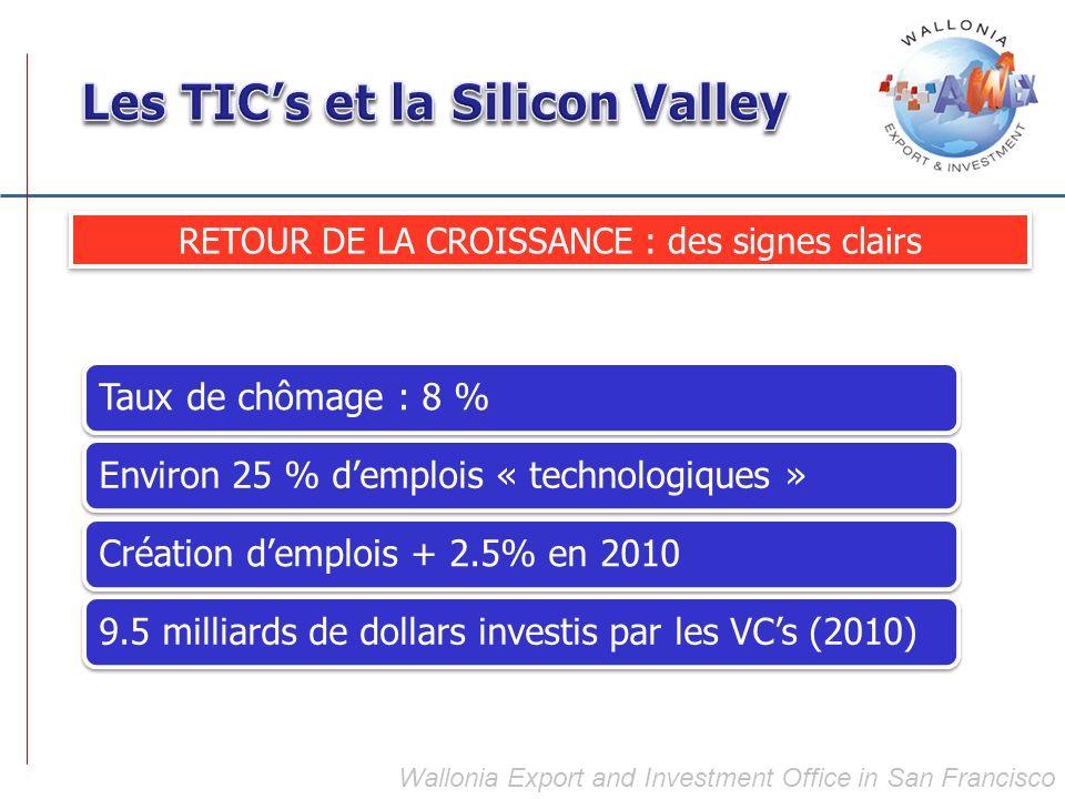 RETOUR DE LA CROISSANCE : des signes clairs Taux de chômage : 8 %Environ 25 % demplois « technologiques »Création demplois + 2.5% en 20109.5 milliards de dollars investis par les VCs (2010)
