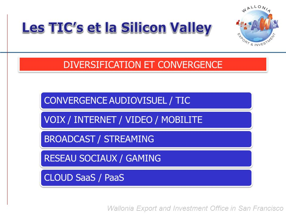 Wallonia Export and Investment Office in San Francisco DIVERSIFICATION ET CONVERGENCE CONVERGENCE AUDIOVISUEL / TICVOIX / INTERNET / VIDEO / MOBILITEB