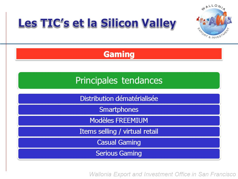 Principales tendances Distribution dématérialiséeSmartphonesModèles FREEMIUMItems selling / virtual retailCasual GamingSerious Gaming