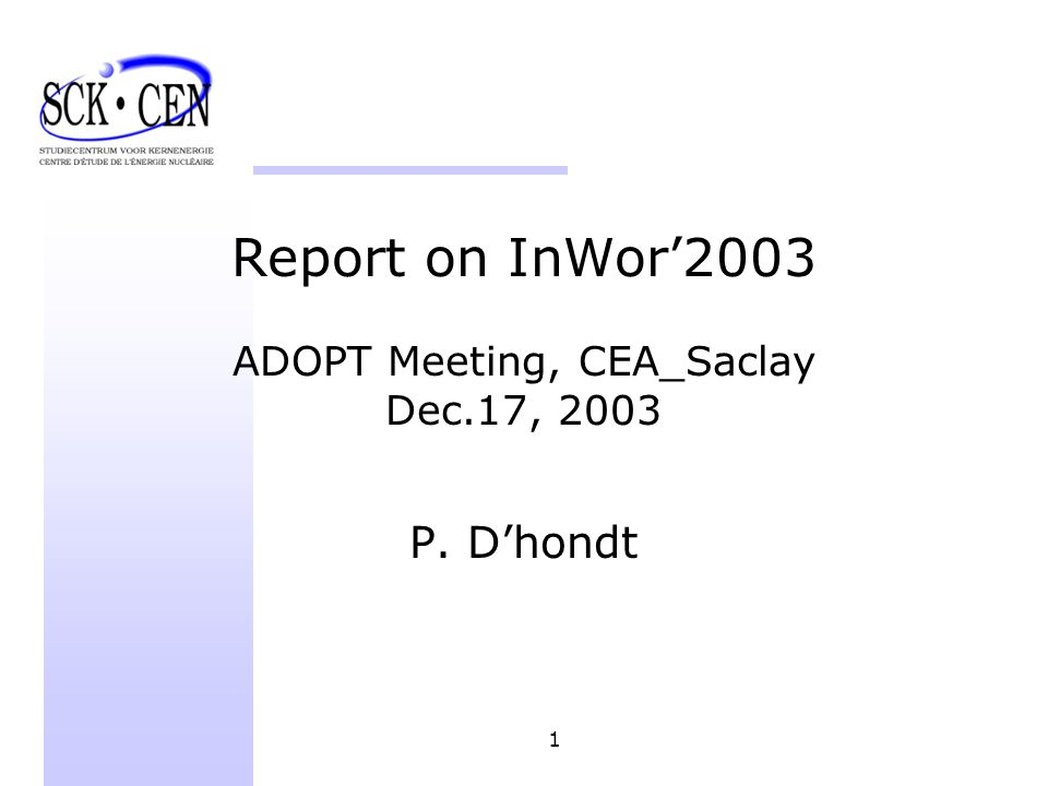 1 Report on InWor2003 ADOPT Meeting, CEA_Saclay Dec.17, 2003 P. Dhondt