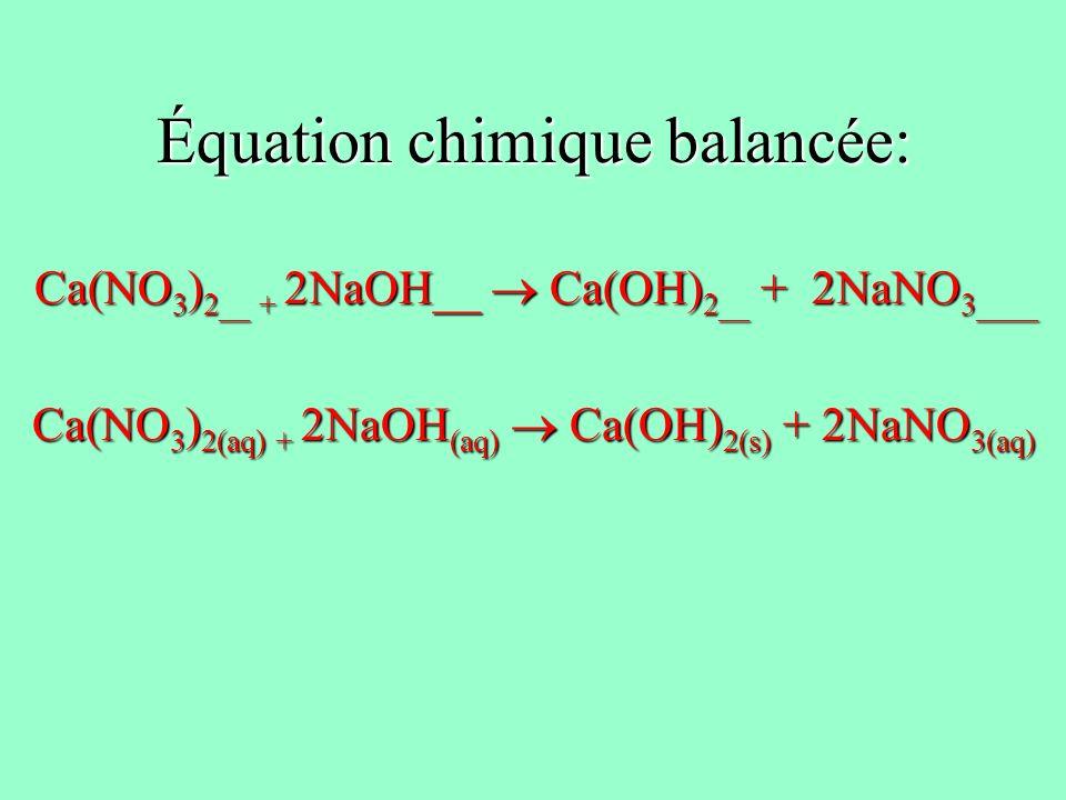 Équation chimique balancée: Ca(NO 3 ) 2__ + 2NaOH__ Ca(OH) 2__ + 2NaNO 3____ Ca(NO 3 ) 2__ + 2NaOH__ Ca(OH) 2__ + 2NaNO 3____ Ca(NO 3 ) 2(aq) + 2NaOH