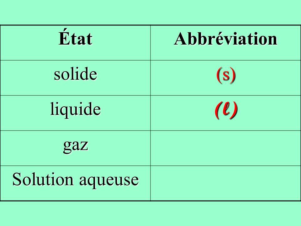 ÉtatAbbréviation solide(s) liquide(l) gaz