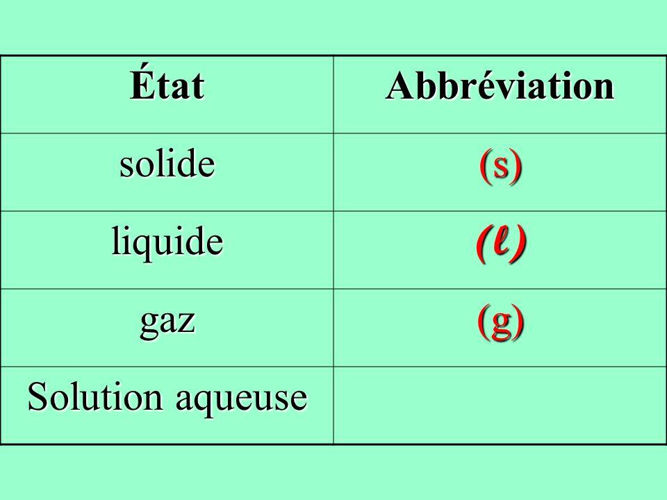 ÉtatAbbréviation solide(s) liquide(l) gaz(g)
