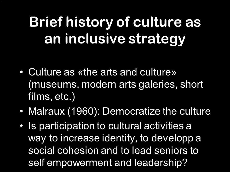 Cultural strategy: Quebecs cultural mediation Quebecs definition of cultural mediation –An encounter –Inclusive as a participative and/or co-creative process –Possible by partnerships Appropriation of the arts and culture by the citizens Respect everyones own role (artist, social worker, coordinator, etc.) Gives tools to understand, to appropriate and to become autonomous into participating in the cultural activities/community Ultimately leads to community and local developpment