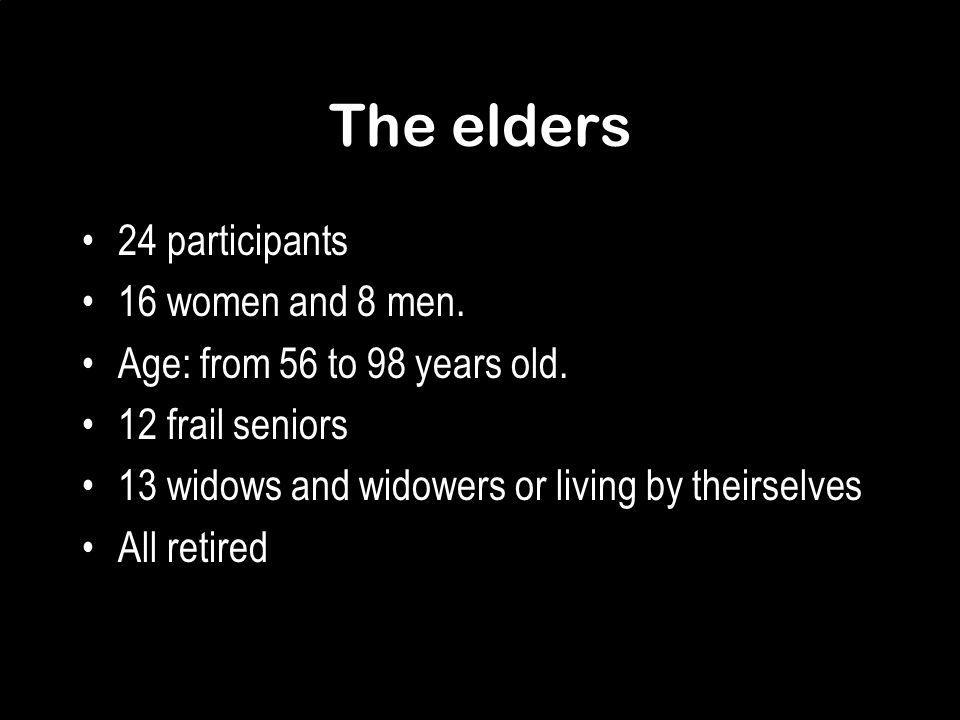 The elders 24 participants 16 women and 8 men. Age: from 56 to 98 years old.