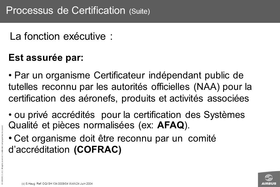 © AIRBUS S.A.S. All rights reserved. Confidential and proprietary document. (c) S.Haug Ref: OQI SH 134.0009/04 WAN 24 Juin 2004 Processus de Certifica