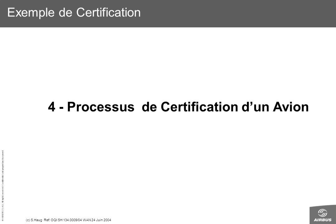 © AIRBUS S.A.S. All rights reserved. Confidential and proprietary document. (c) S.Haug Ref: OQI SH 134.0009/04 WAN 24 Juin 2004 Exemple de Certificati