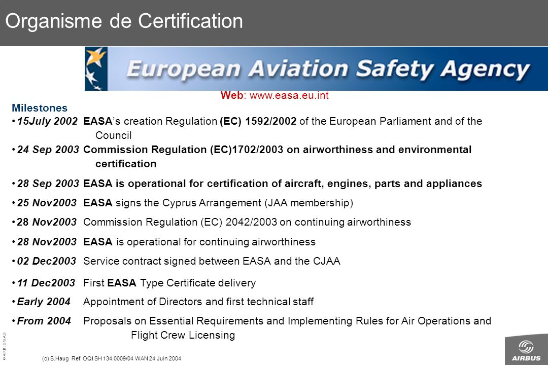 © AIRBUS S.A.S. All rights reserved. Confidential and proprietary document. (c) S.Haug Ref: OQI SH 134.0009/04 WAN 24 Juin 2004 Milestones 15July 2002