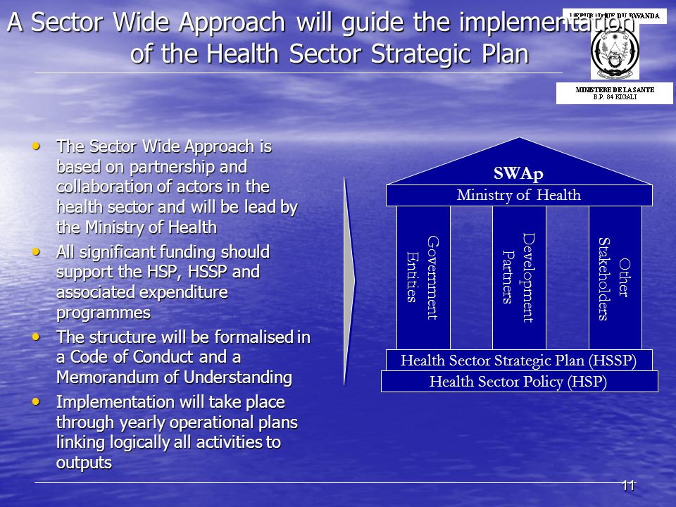 11 A Sector Wide Approach will guide the implementation of the Health Sector Strategic Plan The Sector Wide Approach is based on partnership and colla