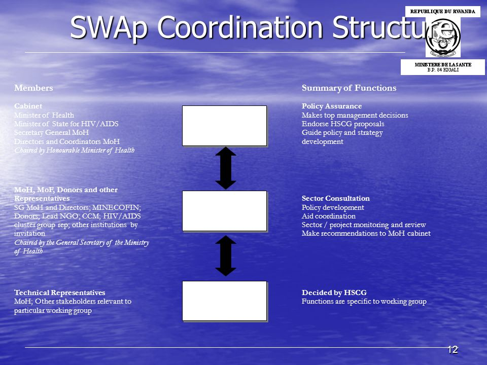 12 SWAp Coordination Structure SWAp Coordination Structure Ministry of Health Cabinet Meets Weekly Ministry of Health Cabinet Meets Weekly Health Sect