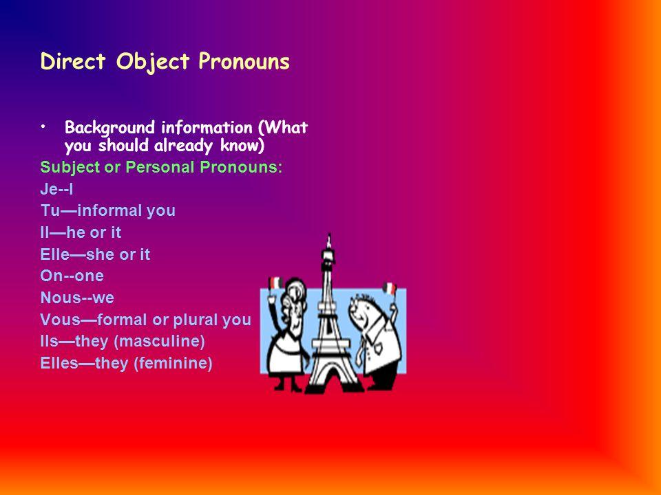 Direct Object Pronouns Me--me Te--you Lehim or it Laher or it Nous--us Vous--you Les--them