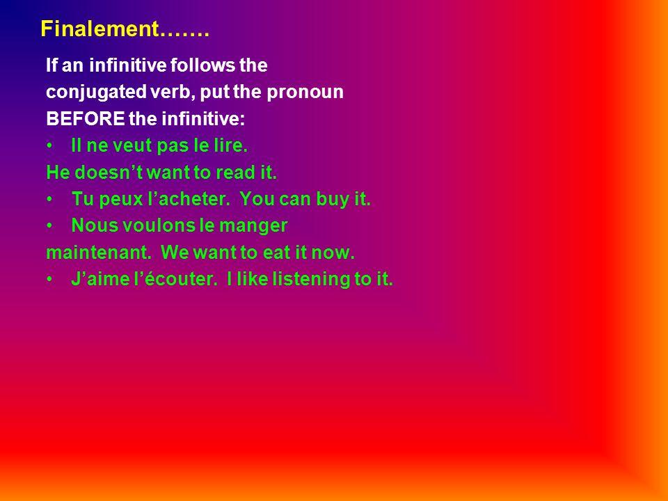 Finalement……. If an infinitive follows the conjugated verb, put the pronoun BEFORE the infinitive: Il ne veut pas le lire. He doesnt want to read it.