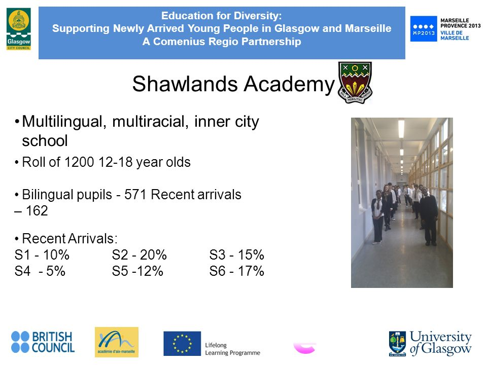 Education for Diversity: Supporting Newly Arrived Young People in Glasgow and Marseille A Comenius Regio Partnership Shawlands Academy Multilingual, multiracial, inner city school Recent Arrivals: S1 - 10%S2 - 20%S3 - 15% S4 - 5% S5 -12%S6 - 17% Roll of 1200 12-18 year olds Bilingual pupils - 571 Recent arrivals – 162