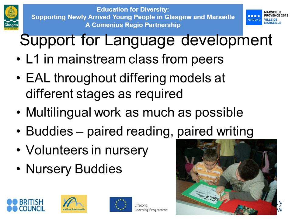Education for Diversity: Supporting Newly Arrived Young People in Glasgow and Marseille A Comenius Regio Partnership Support for Language development L1 in mainstream class from peers EAL throughout differing models at different stages as required Multilingual work as much as possible Buddies – paired reading, paired writing Volunteers in nursery Nursery Buddies