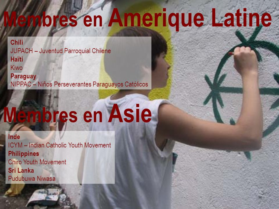 Membres en Amerique Latine Chili JUPACH – Juventud Parroquial Chilene Haïti Kiwo Paraguay NIPPAC – Niños Perseverantes Paraguayos Católicos Membres en Asie Inde ICYM – Indian Catholic Youth Movement Philippines Chiro Youth Movement Sri Lanka Pudubuwa Niwasa