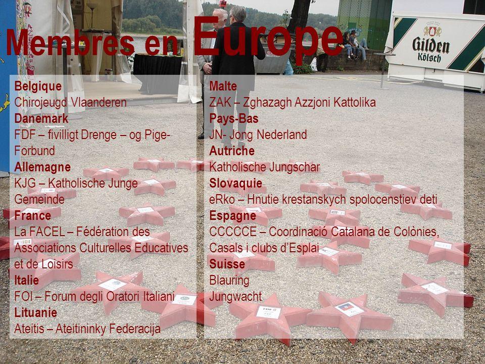 Membres en Europe Belgique Chirojeugd Vlaanderen Danemark FDF – fivilligt Drenge – og Pige- Forbund Allemagne KJG – Katholische Junge Gemeinde France