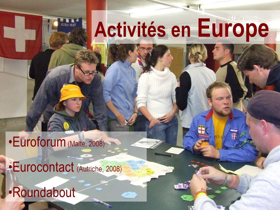 Activités en Europe Euroforum (Malte, 2008) Eurocontact (Autriche, 2008) Roundabout
