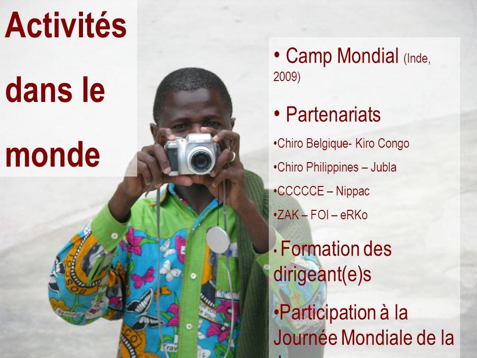 Activités dans le monde Camp Mondial (Inde, 2009) Partenariats Chiro Belgique- Kiro Congo Chiro Philippines – Jubla CCCCCE – Nippac ZAK – FOI – eRKo F