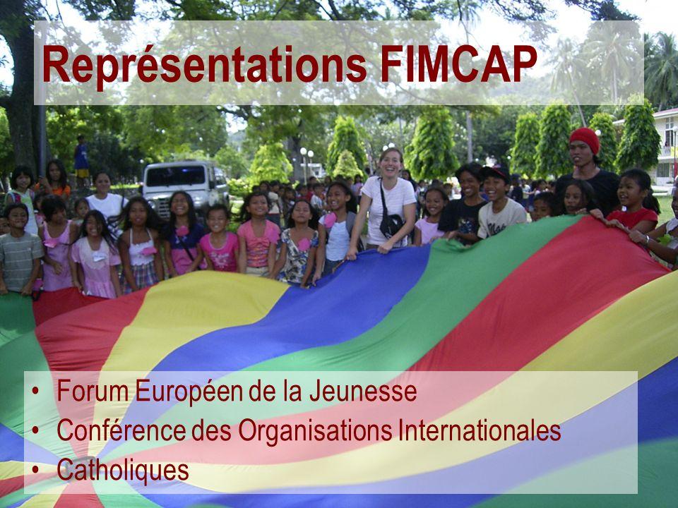 Représentations FIMCAP Forum Européen de la Jeunesse Conférence des Organisations Internationales Catholiques