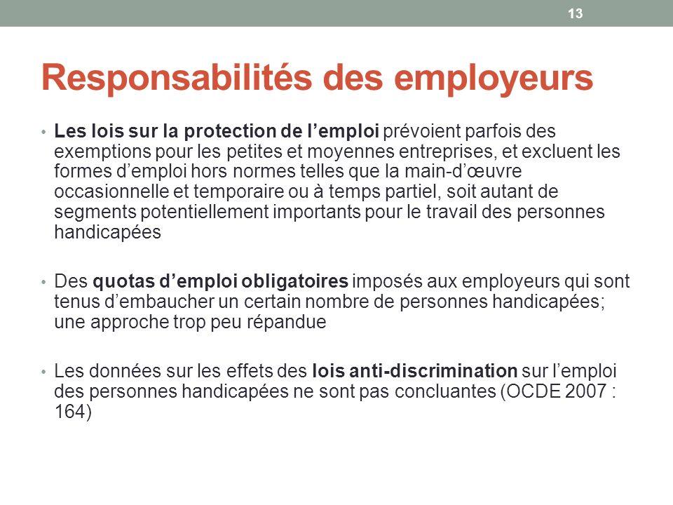 Responsabilités des employeurs Les lois sur la protection de lemploi prévoient parfois des exemptions pour les petites et moyennes entreprises, et exc