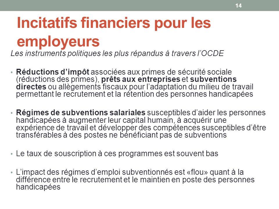 Incitatifs financiers pour les employeurs Les instruments politiques les plus répandus à travers lOCDE Réductions dimpôt associées aux primes de sécur