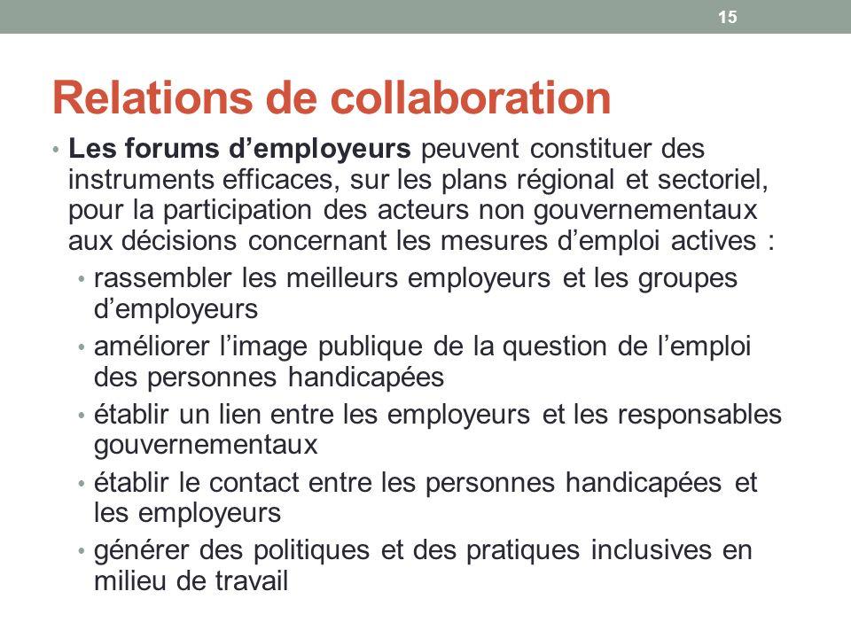 Relations de collaboration Les forums demployeurs peuvent constituer des instruments efficaces, sur les plans régional et sectoriel, pour la participa