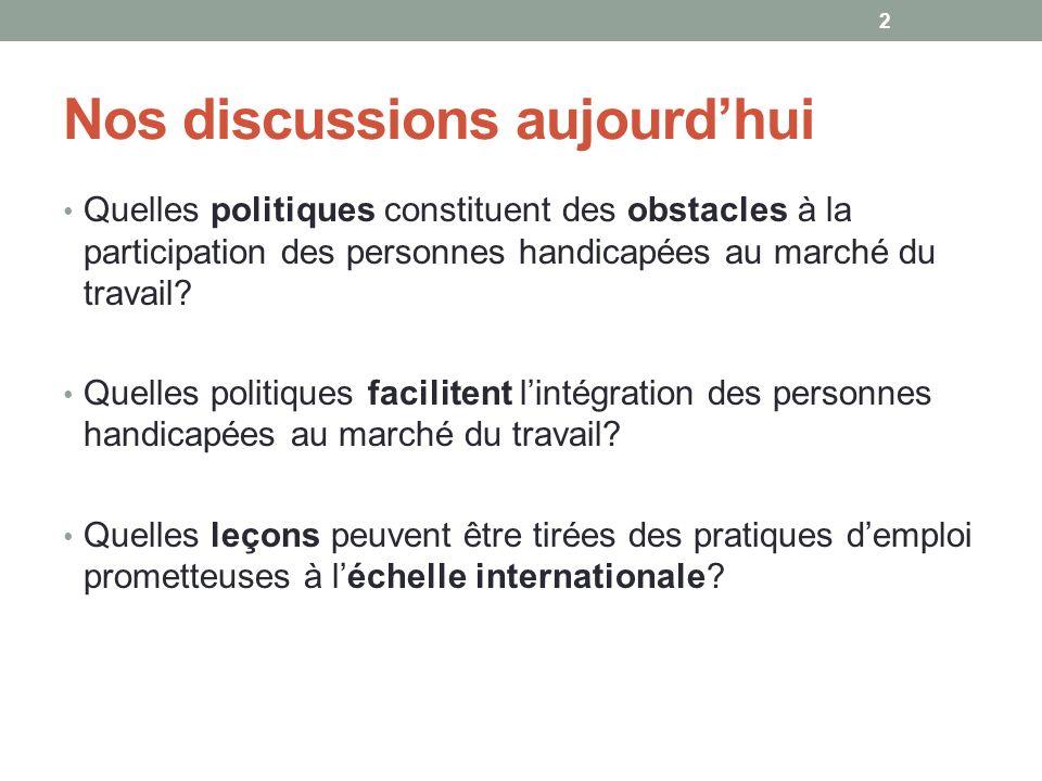 Nos discussions aujourdhui Quelles politiques constituent des obstacles à la participation des personnes handicapées au marché du travail? Quelles pol